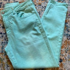 American Eagle mid rise jegging mint green